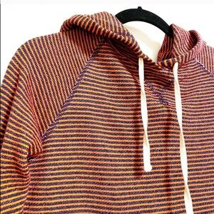 JCrew. Blue and orange thin striped hoodie.
